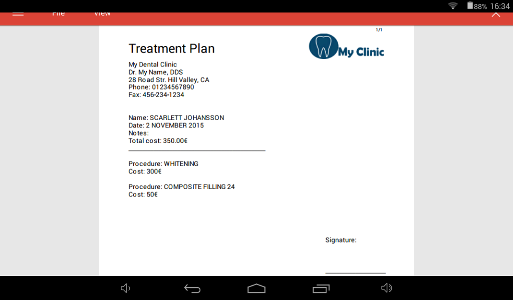 Cusp treatment plan